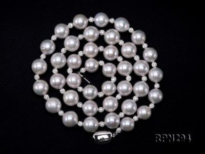 11-12mm High Quality Edison Pearl Necklace with Shiny CZech Rhinestones RPN294 Image 2