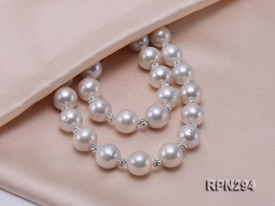 11-12mm High Quality Edison Pearl Necklace with Shiny CZech Rhinestones RPN294 Image 3