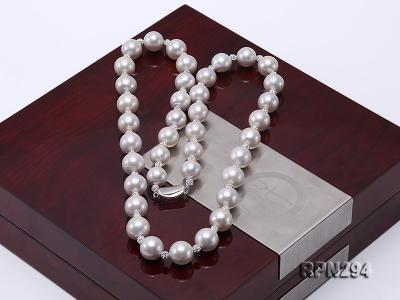 11-12mm High Quality Edison Pearl Necklace with Shiny CZech Rhinestones RPN294 Image 6