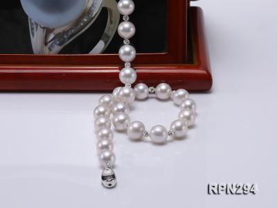 11-12mm High Quality Edison Pearl Necklace with Shiny CZech Rhinestones RPN294 Image 7