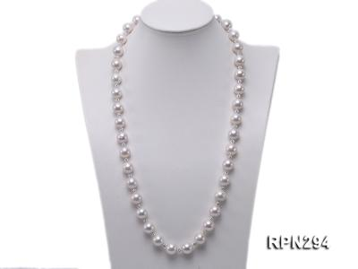 11-12mm High Quality Edison Pearl Necklace with Shiny CZech Rhinestones RPN294 Image 1