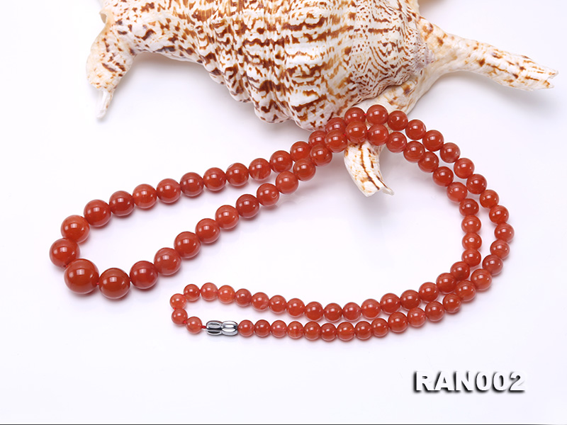 Natural 5.5-12.5mm Round Nanhong Agate Graduated Necklace  big Image 3