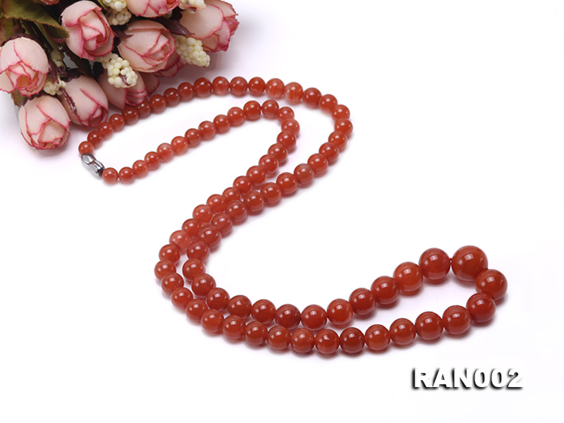 Natural 5.5-12.5mm Round Nanhong Agate Graduated Necklace  big Image 5
