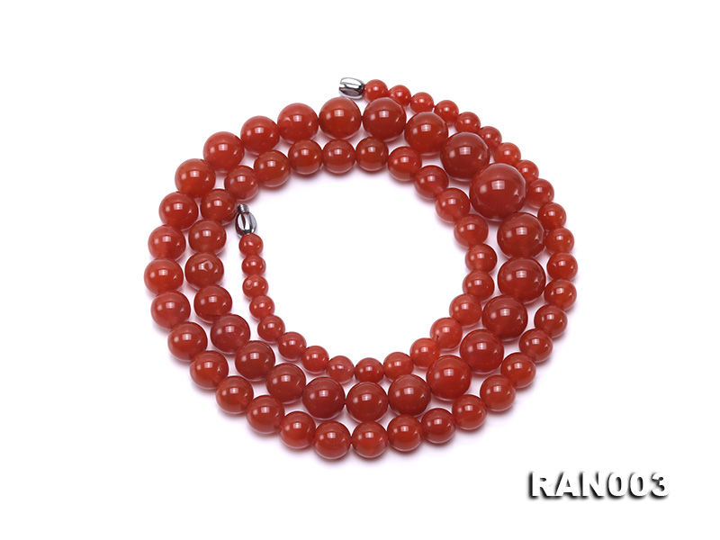Natural 5.5-13mm Round Nanhong Agate Graduated Necklace  big Image 1