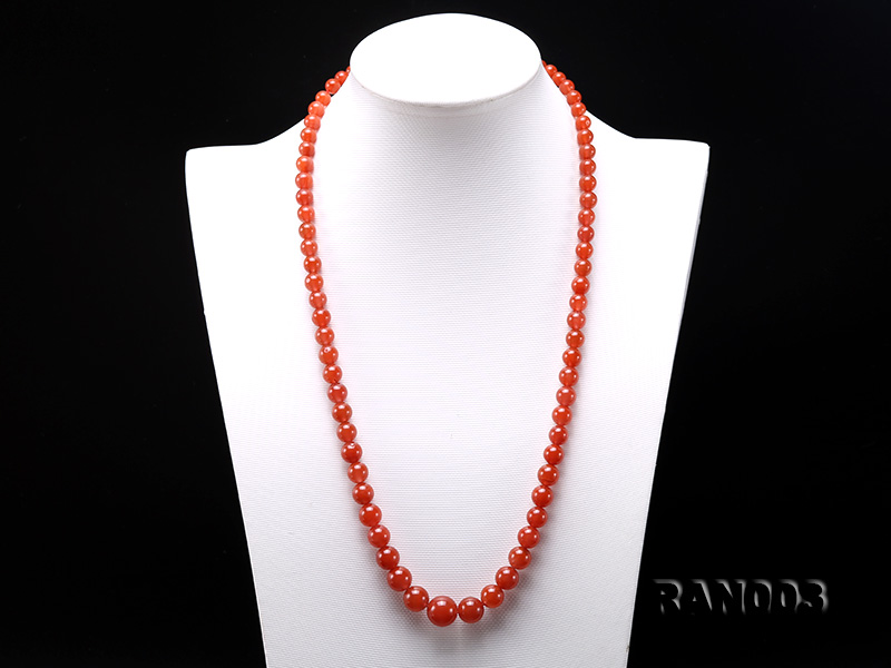 Natural 5.5-13mm Round Nanhong Agate Graduated Necklace  big Image 2