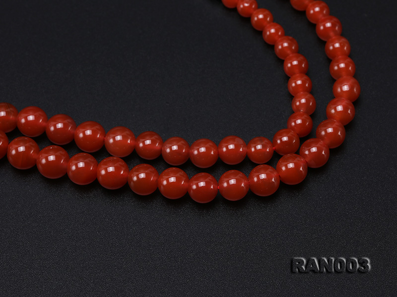 Natural 5.5-13mm Round Nanhong Agate Graduated Necklace  big Image 4