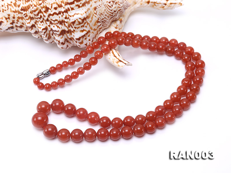 Natural 5.5-13mm Round Nanhong Agate Graduated Necklace  big Image 5