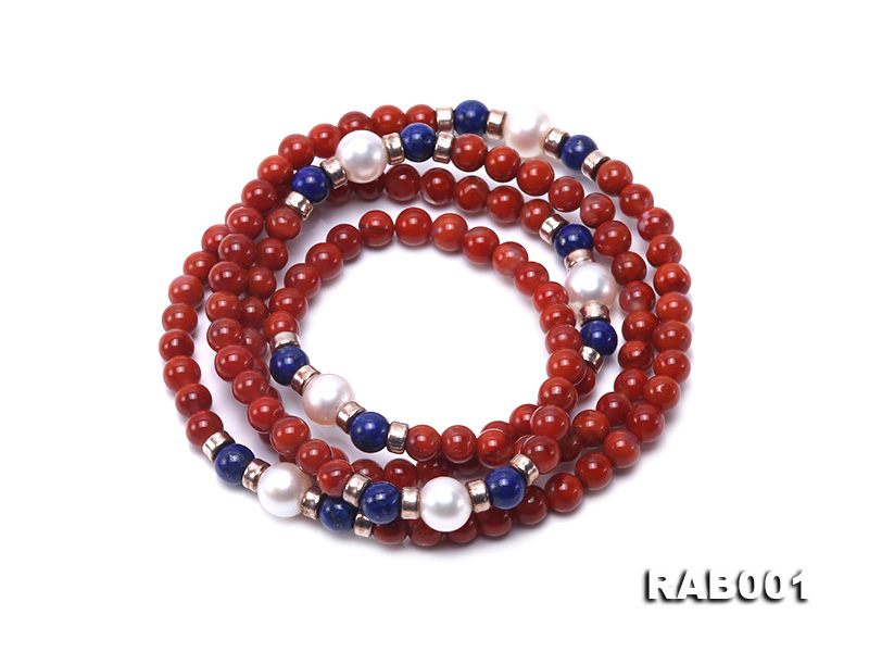 High Quality 5.5-6mm Nanhong Agate Bracelet with Lapis and Freshwater Pearls big Image 1