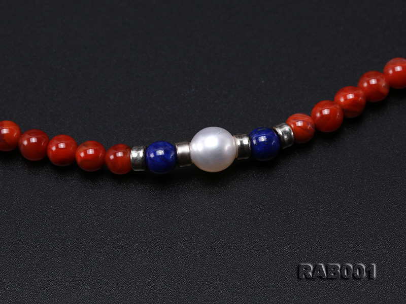 High Quality 5.5-6mm Nanhong Agate Bracelet with Lapis and Freshwater Pearls big Image 2