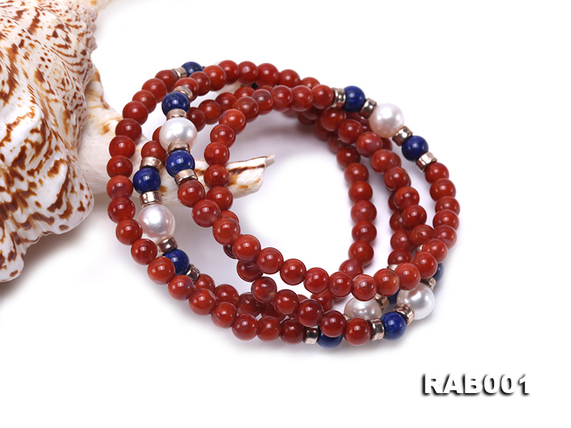 High Quality 5.5-6mm Nanhong Agate Bracelet with Lapis and Freshwater Pearls big Image 3