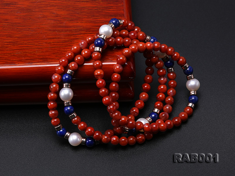 High Quality 5.5-6mm Nanhong Agate Bracelet with Lapis and Freshwater Pearls big Image 4