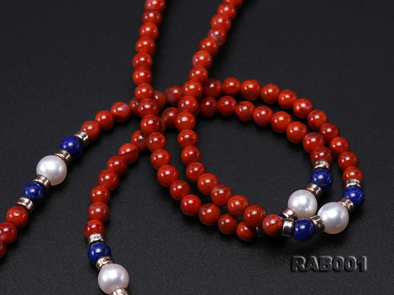 High Quality 5.5-6mm Nanhong Agate Bracelet with Lapis and Freshwater Pearls big Image 5
