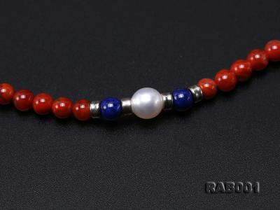 High Quality 5.5-6mm Nanhong Agate Bracelet with Lapis and Freshwater Pearls RAB001 Image 2