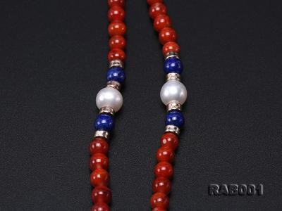 High Quality 5.5-6mm Nanhong Agate Bracelet with Lapis and Freshwater Pearls RAB001 Image 6