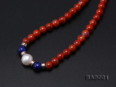 High Quality 5.5-6mm Nanhong Agate Bracelet with Lapis and Freshwater Pearls RAB001 Image 7