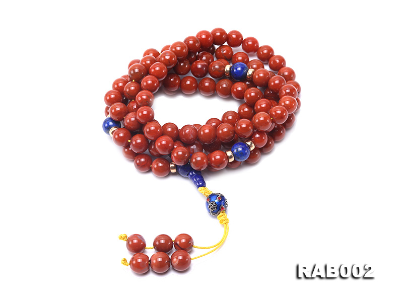 8-8.5mm Nanhong Agate Bracelet with 8-10mm Lapis and 925 Sterling Silver Accessories big Image 1