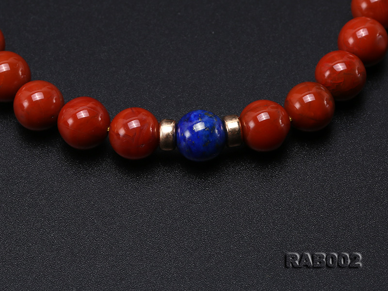 8-8.5mm Nanhong Agate Bracelet with 8-10mm Lapis and 925 Sterling Silver Accessories big Image 4