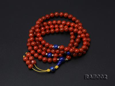 8-8.5mm Nanhong Agate Bracelet with 8-10mm Lapis and 925 Sterling Silver Accessories RAB002 Image 3