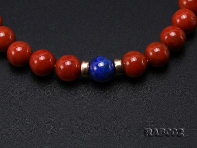 8-8.5mm Nanhong Agate Bracelet with 8-10mm Lapis and 925 Sterling Silver Accessories RAB002 Image 4
