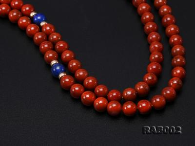 8-8.5mm Nanhong Agate Bracelet with 8-10mm Lapis and 925 Sterling Silver Accessories RAB002 Image 5