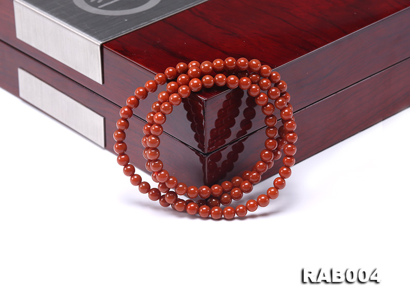 5-5.5mm Natural Nanhong Agate Multi-strand Bracelet big Image 5