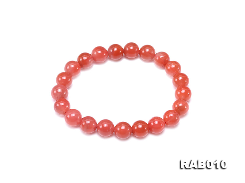 9.5-10mm High-grade Natural Nanhong Agate Bracelet big Image 1