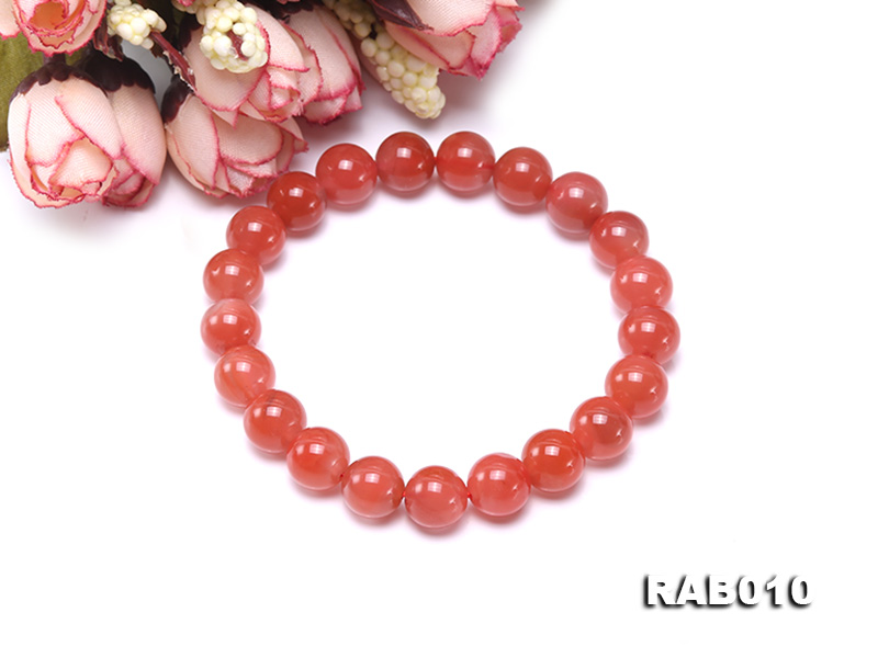 9.5-10mm High-grade Natural Nanhong Agate Bracelet big Image 3