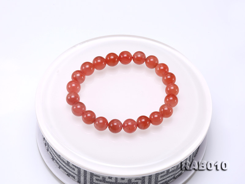 9.5-10mm High-grade Natural Nanhong Agate Bracelet big Image 7