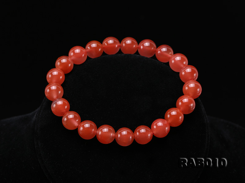 9.5-10mm High-grade Natural Nanhong Agate Bracelet big Image 8