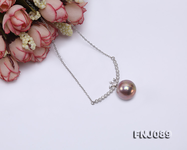 14-14.5mm Lavender Round Edison Pearl Necklace big Image 4