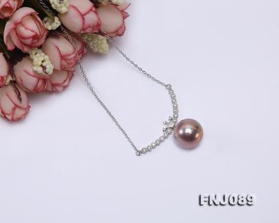 14-14.5mm Lavender Round Edison Pearl Necklace FNJ089 Image 4