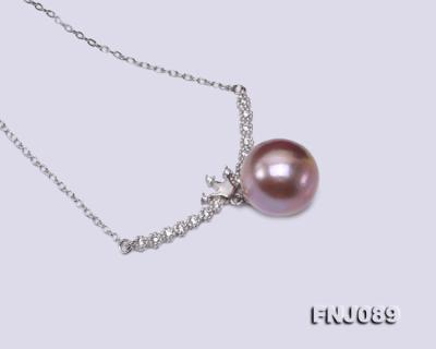14-14.5mm Lavender Round Edison Pearl Necklace FNJ089 Image 5