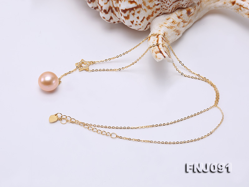 11.5-12mm Salmon Round Edison Pearl Pendant with Sterling Silver Chain big Image 2