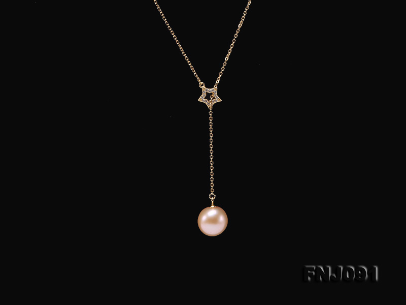 11.5-12mm Salmon Round Edison Pearl Pendant with Sterling Silver Chain big Image 4