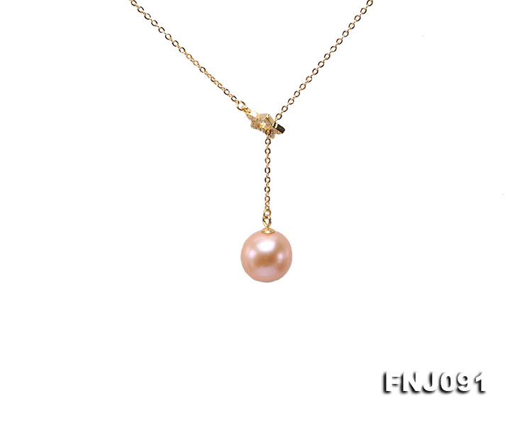 11.5-12mm Salmon Round Edison Pearl Pendant with Sterling Silver Chain big Image 1