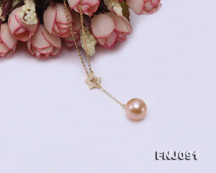 11.5-12mm Salmon Round Edison Pearl Pendant with Sterling Silver Chain big Image 5
