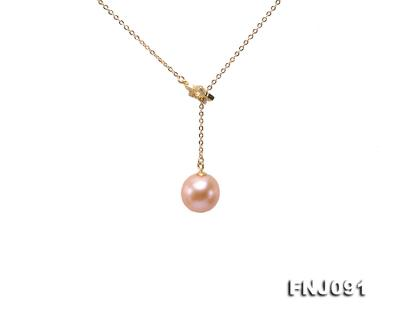 11.5-12mm Salmon Round Edison Pearl Pendant with Sterling Silver Chain FNJ091 Image 1