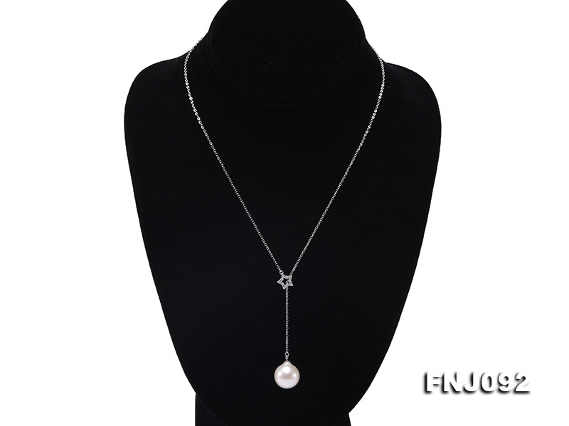 14.5mm White Round Edison Pearl Pendant with Sterling Silver Chain big Image 2
