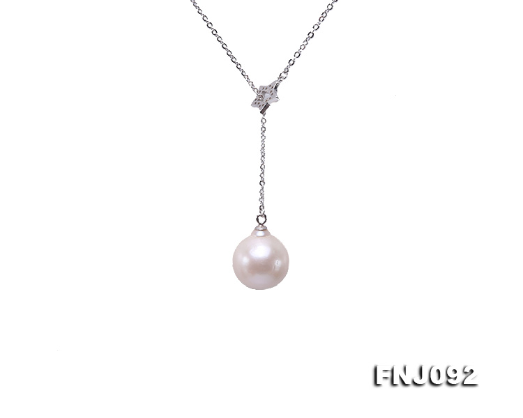 14.5mm White Round Edison Pearl Pendant with Sterling Silver Chain big Image 1
