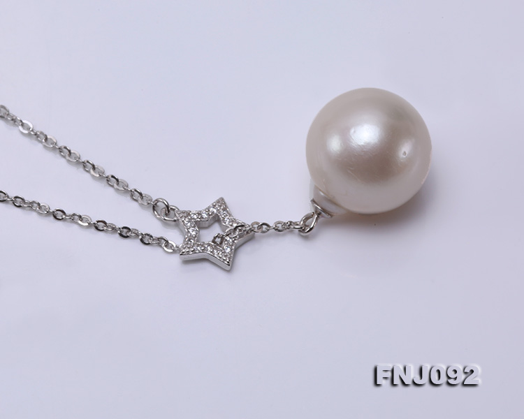 14.5mm White Round Edison Pearl Pendant with Sterling Silver Chain big Image 4