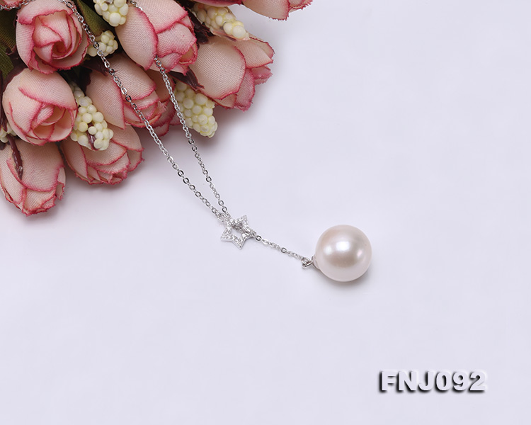 14.5mm White Round Edison Pearl Pendant with Sterling Silver Chain big Image 5
