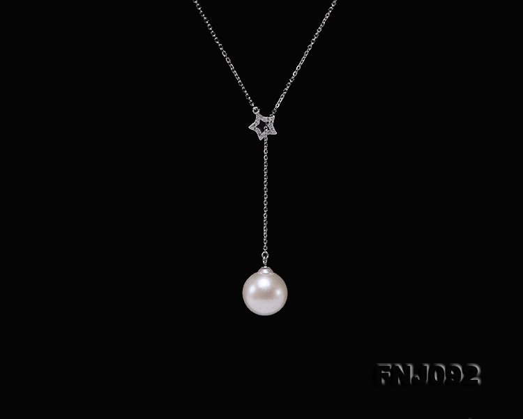 14.5mm White Round Edison Pearl Pendant with Sterling Silver Chain big Image 6