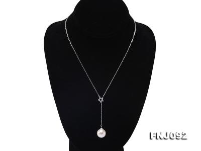 14.5mm White Round Edison Pearl Pendant with Sterling Silver Chain FNJ092 Image 2