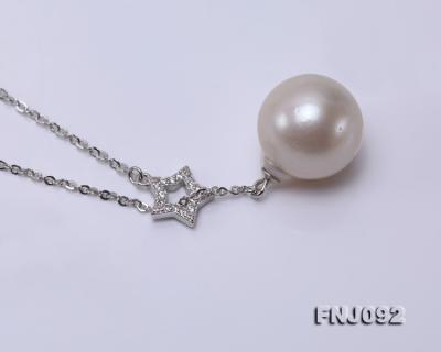 14.5mm White Round Edison Pearl Pendant with Sterling Silver Chain FNJ092 Image 4