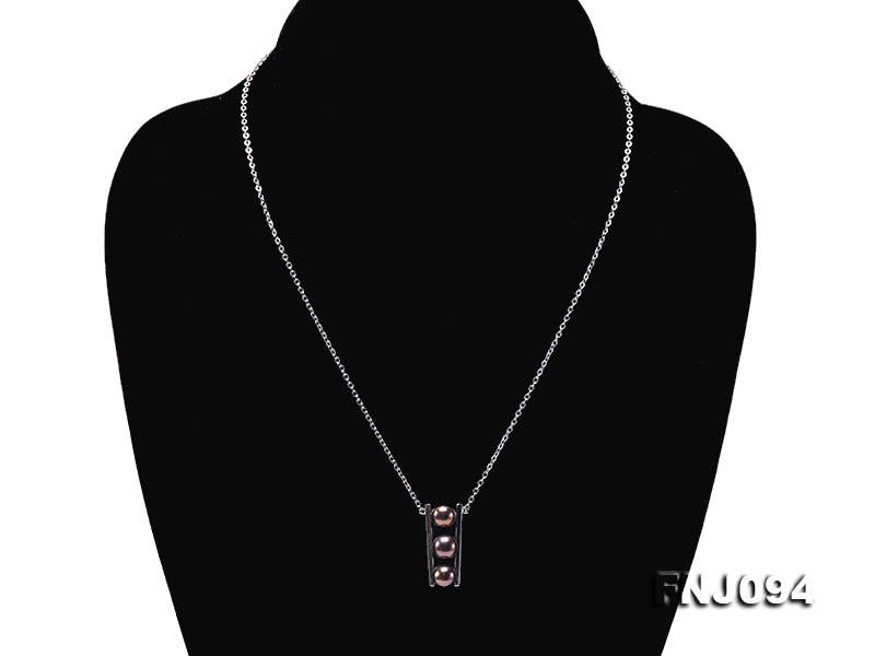 6.5mm Black Pearl Pendant Necklace with Sterling Silver Chain big Image 2