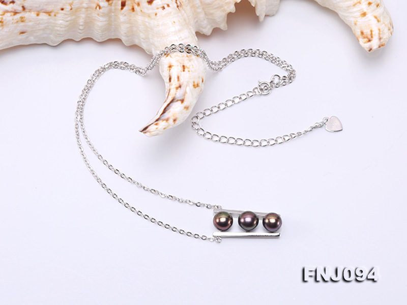 6.5mm Black Pearl Pendant Necklace with Sterling Silver Chain big Image 4