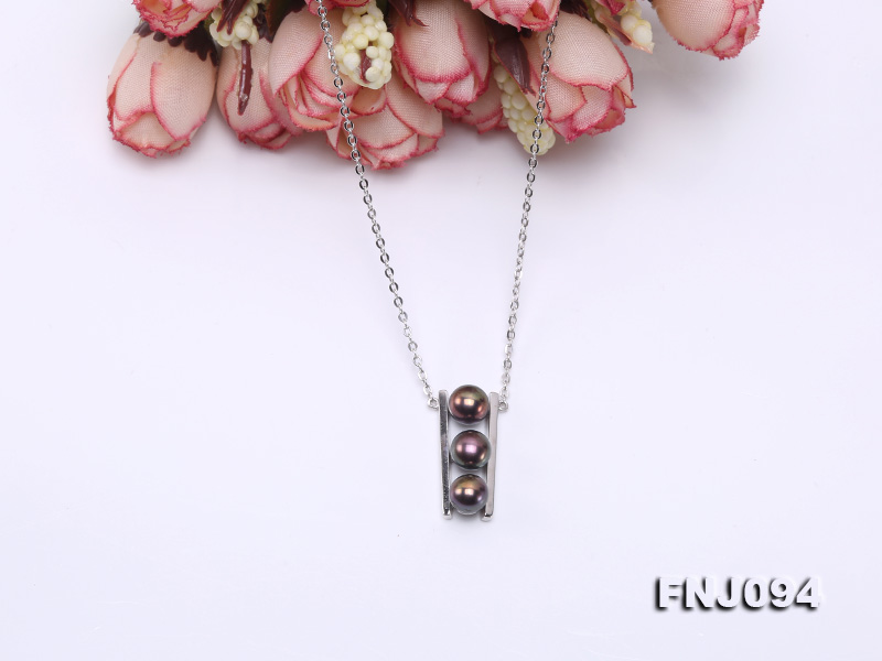 6.5mm Black Pearl Pendant Necklace with Sterling Silver Chain big Image 5