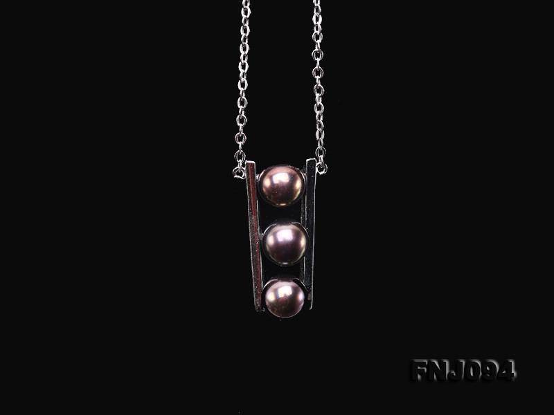 6.5mm Black Pearl Pendant Necklace with Sterling Silver Chain big Image 6