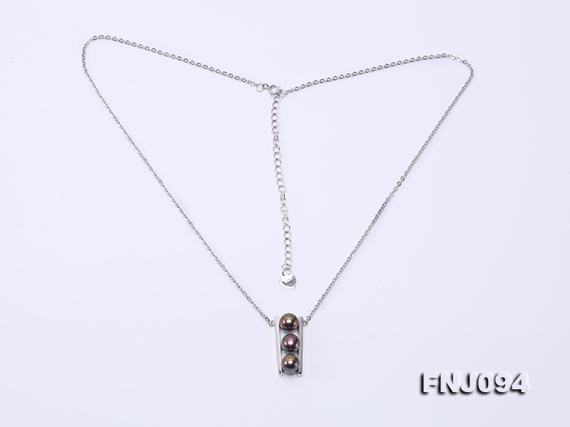 6.5mm Black Pearl Pendant Necklace with Sterling Silver Chain big Image 7