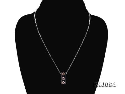 6.5mm Black Pearl Pendant Necklace with Sterling Silver Chain FNJ094 Image 2